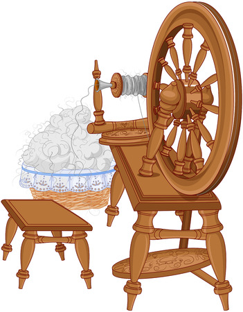Illustration of spinning wheel and chair
