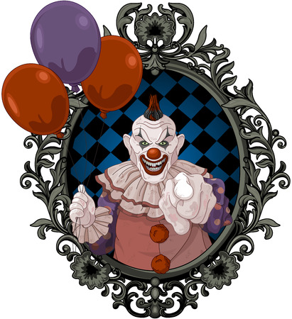The scary clown holds balloons Illustration