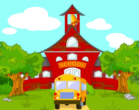 Illustration of yellow School Bus school background