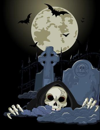 Illustration of Halloween horrible Grim Reaper over tombstone Ilustração