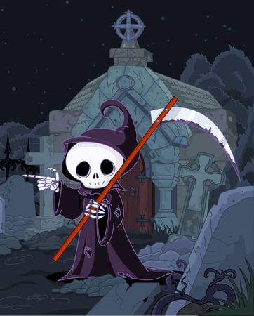 Illustration of Halloween grim reaper with scythe pointing over tombstone Illustration