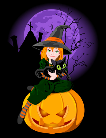 Halloween which sits on pumpkin and holds black cat