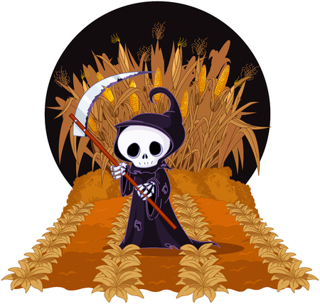 Halloween Grim reaper with scythe on corn maze