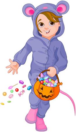 Illustration of trick or treating Halloween mouse child Illustration