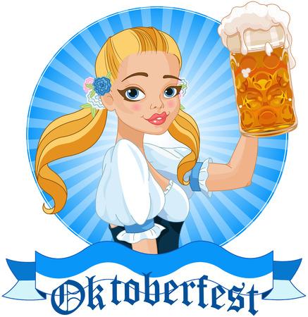 Illustration of funny German girl holding a beer mug