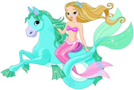 Illustration of beautiful mermaid riding sea horse Ilustrace