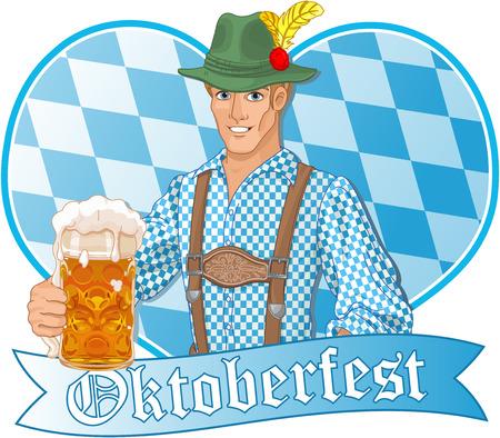 Illustration de gars Oktoberfest célébrer