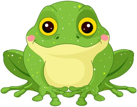 Illustration of cute green toad 矢量图像