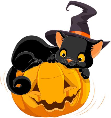 L'illustration du chaton de Halloween coule heureusement sur une citrouille