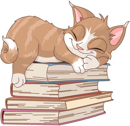 Un chat mignon dort sur une pile de livres Illustration