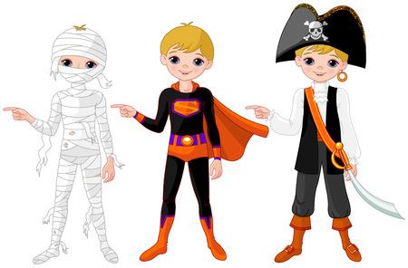 Vêtu de costumes différents pour halloween.
