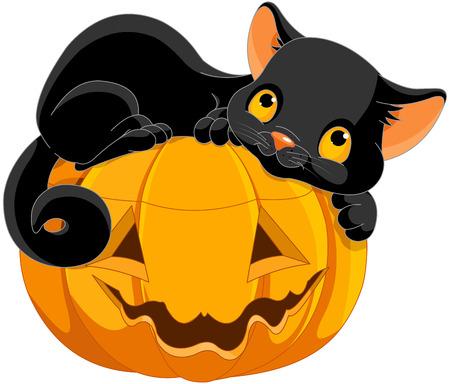 Illustration von Halloween Kätzchen liegen glücklich auf einem Kürbis