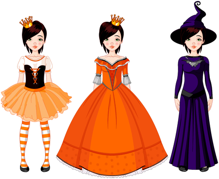 Illustration of paper doll with three dresses for Halloween party