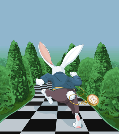 Illustration of white rabbit running away Vettoriali