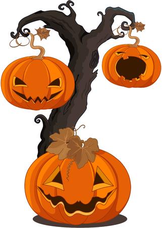 Illustration des citrouilles suspendus sur l'arbre