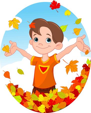 Illustration d'un garçon dans une chute de feuille