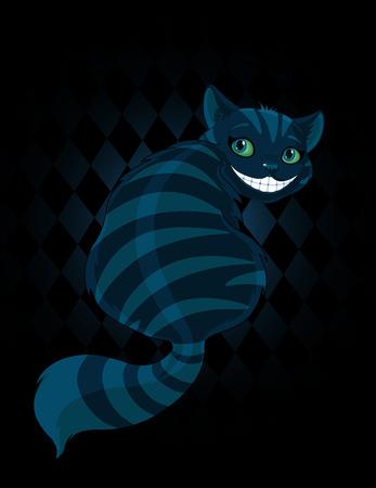 Cheshire chat assis et regardant en arrière