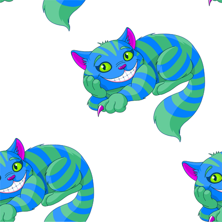Illustration of sitting Cheshire cat pattern 矢量图像