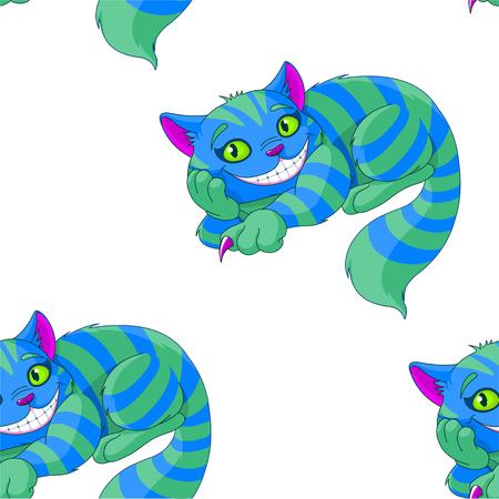 Illustration of sitting Cheshire cat pattern Vettoriali
