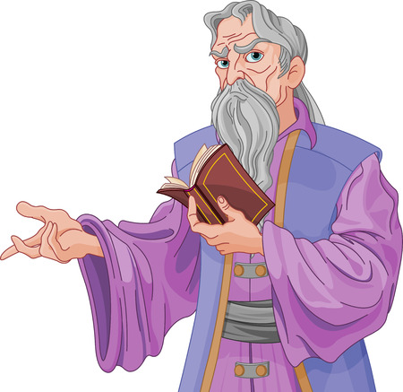 Illustration of Wise wizard with book Illustration