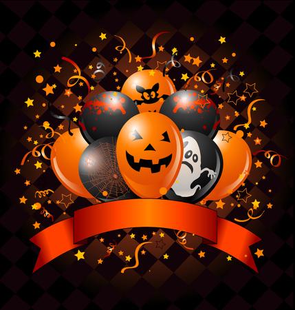 Conception d'Halloween avec des ballons, des confettis et un ruban espace copie. Illustration