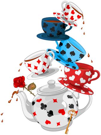 Piramida Mad Tea Party w Krainie Czarów Ilustracje wektorowe