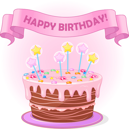 Illustration of birthday cake with candles