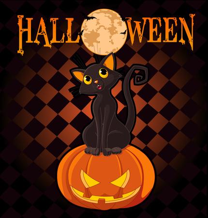 Chat noir assis sur la citrouille d'Halloween Illustration