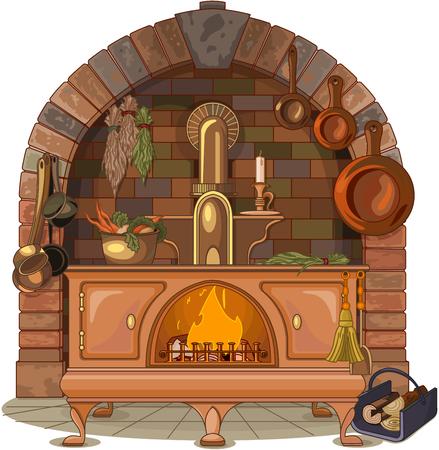 Illustration of wood stove 向量圖像