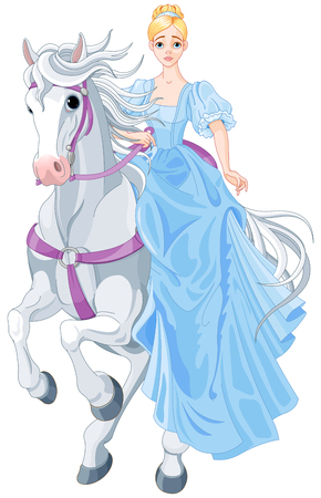 Illustration of princess riding on a horse