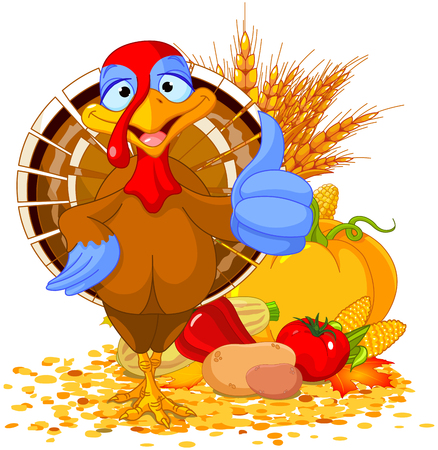 Illustration of cute turkey with thumb up