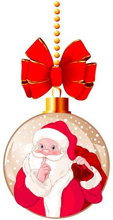 Illustration of Santa Claus gesturing shush.