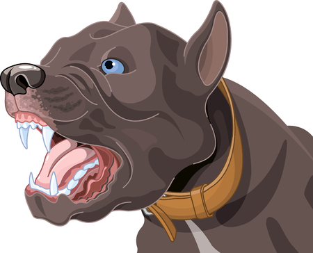 Illustration of barking dog.