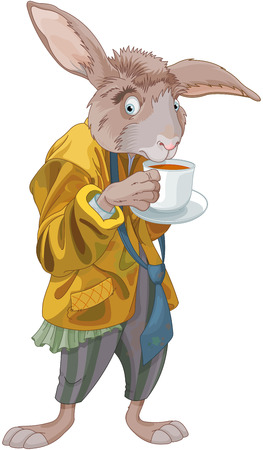 Illustration of March Hare drink a tea.