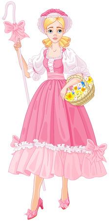 花を持つ魅力的な羊飼いのイラスト。