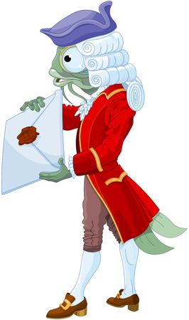 Le valet de poisson délivre une invitation à la duchesse.