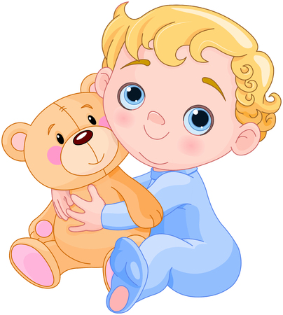 Illustration of creeping baby holds Teddy bear
