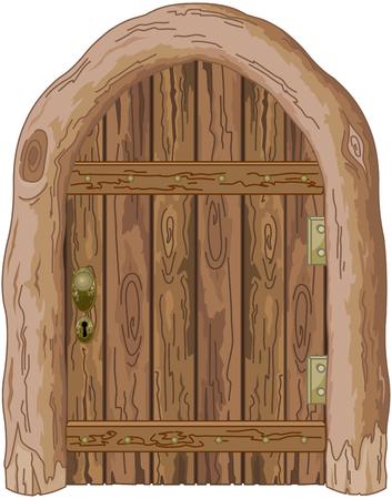 Ilustración de una puerta de granero de madera Foto de archivo - 89881687