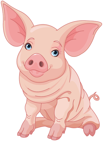 Illustration of cute pig  Ilustrace