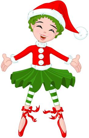 かわいいクリスマスのバレリーナのイラスト  イラスト・ベクター素材