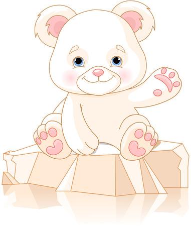 Cute polar bear cub waiving hello