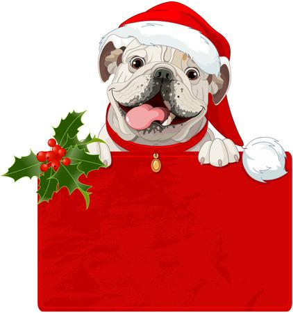 Illustration of Christmas English bulldog with red collar