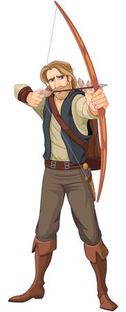 Robin Hood z łukiem gotowym do strzału.