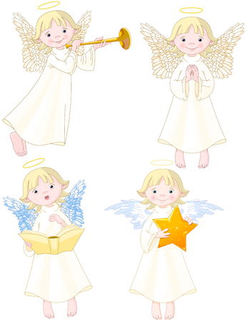 Illustration of cute Angels set.