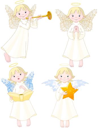 Illustration of cute Angels set.