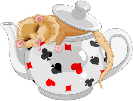 Cute dormouse sleeping in a teapot