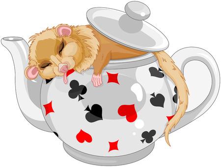 Cute dormouse sleeping in a teapot
