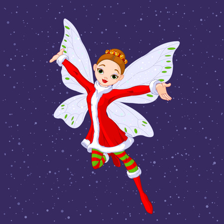 Beautiful Christmas fairy in in glittering purple background.