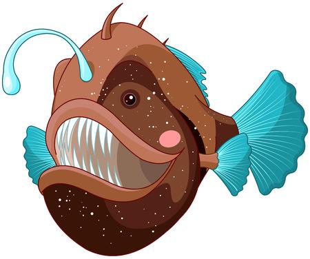 Illustration of cute angler fish.