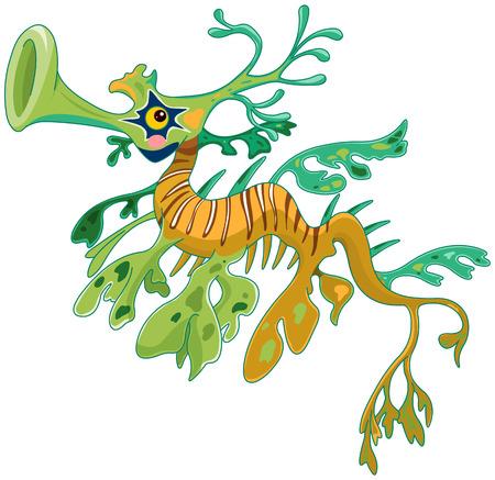 かわいいドラゴン タツノオトシゴのイラスト。